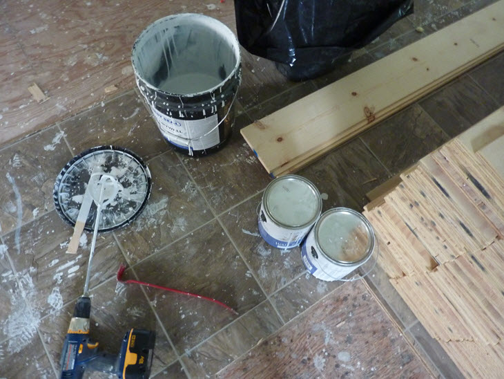 Making white wash for wide plank floors.