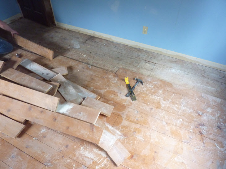 Low budget diy plywood plank floors diydork ripping up old pine floor boards in the bedroom solutioingenieria Image collections