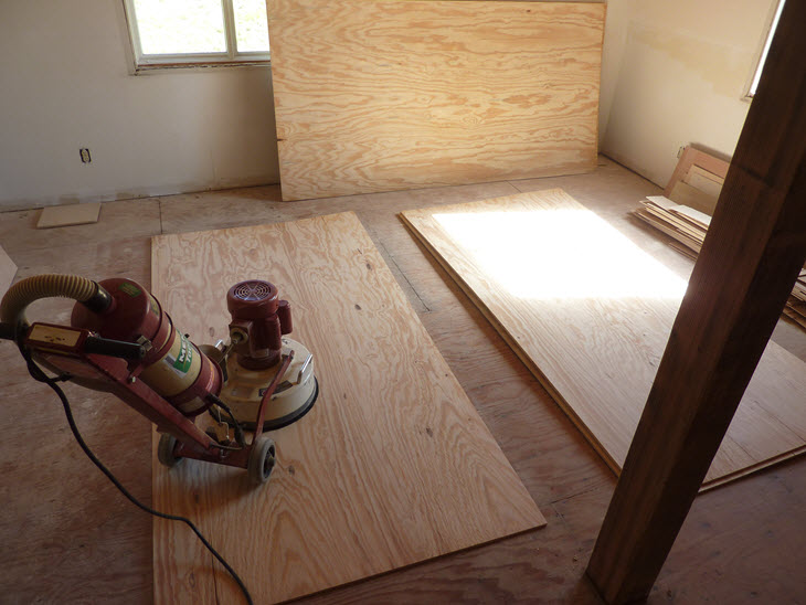 Low budget diy plywood plank floors diydork sanding plywood sheets with menards rental flooring sander solutioingenieria Choice Image