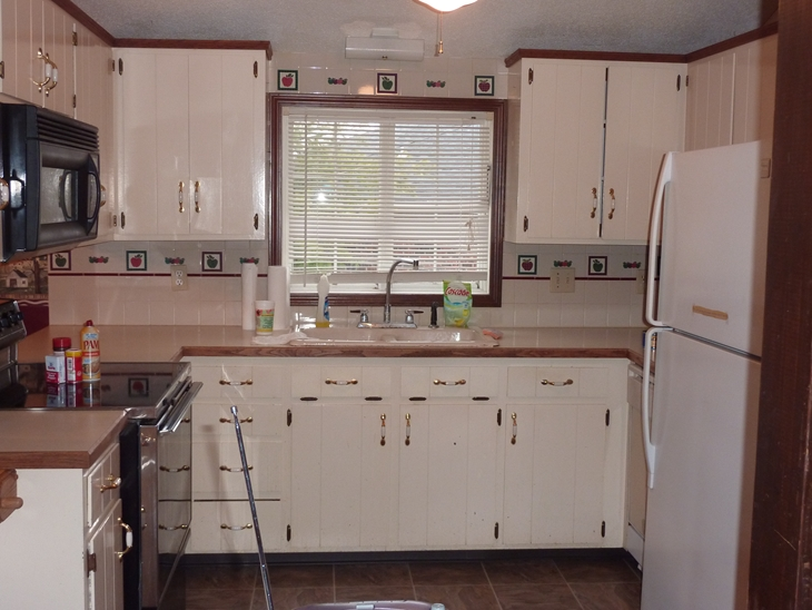 The ugly, dated, country style kitchen when we bought the house.