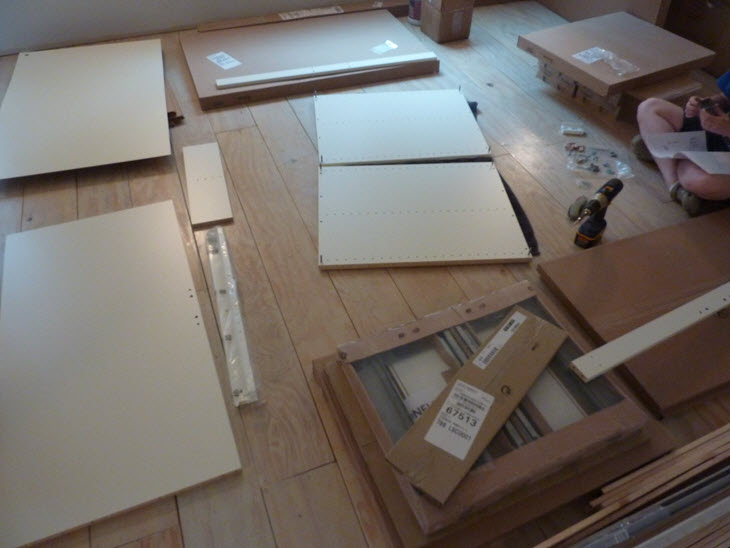 Assembling the new Ikea cabinets for our barn house kitchen