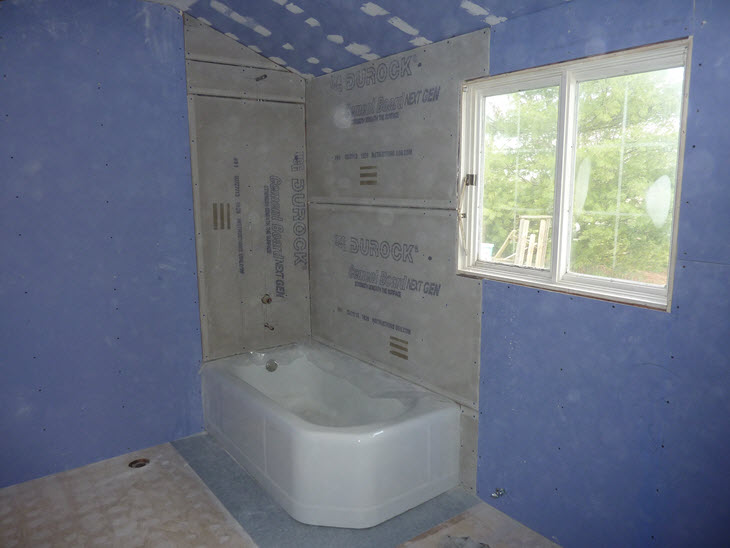 Our murder bathroom total renovation for Drywall or cement board for shower
