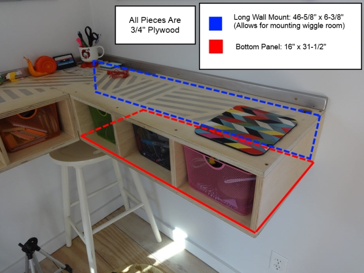 Wall Mounted Stand Up Desk Long Side Hidden Dimensions