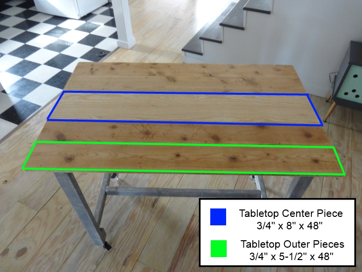 DIY Work Table Removeable Top Board Dimensions