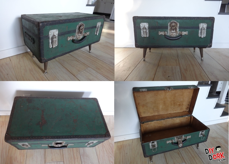 Old Trunk Turned into a Coffee Table