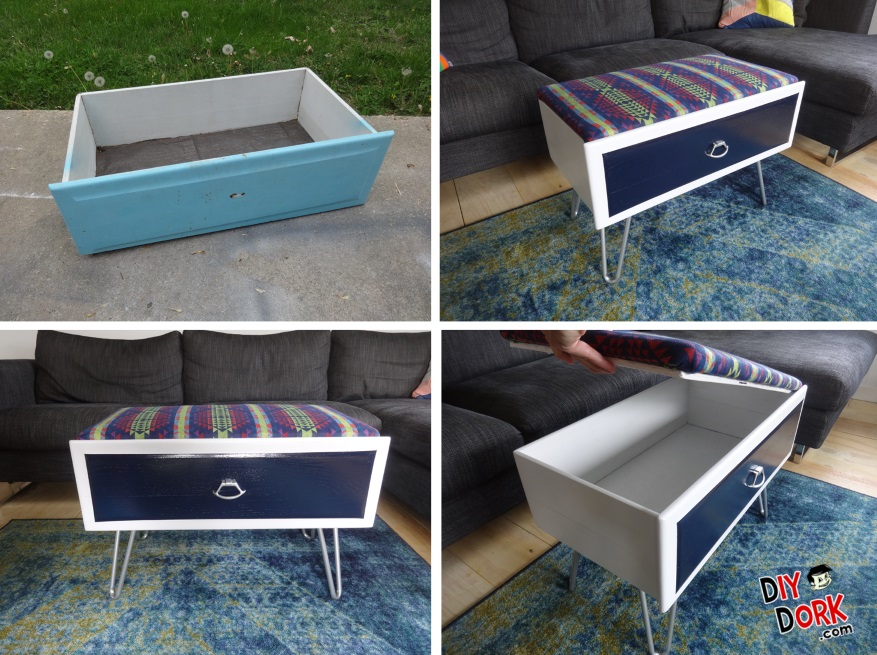 Dresser Drawer Upholstered Ottoman Makeover - Before and After