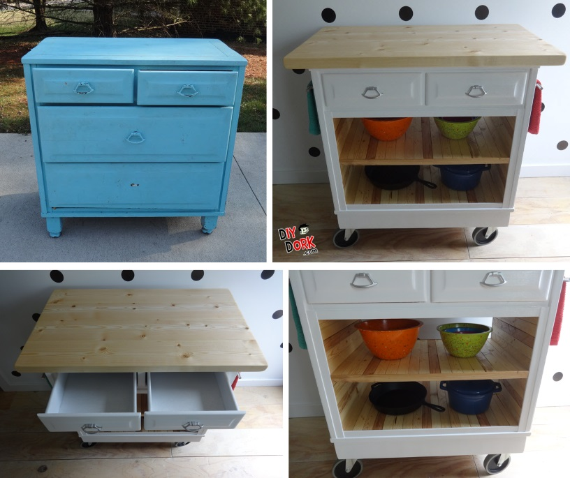 how to turn a dresser into a kitchen island diydork com rh diydork com how to make a kitchen island out of an antique dresser make a kitchen island out of an old dresser